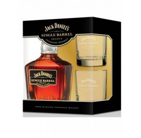 тенеси уиски Джак Даниелс 700 мл Сингъл Барел с 2 чаши