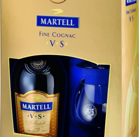 коняк Мартел 700мл ВС с две чаши p1