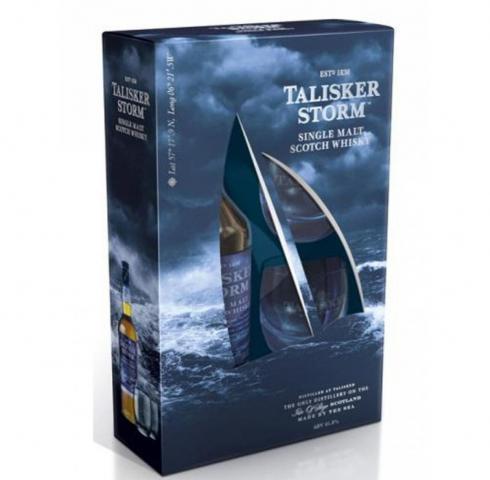 уиски Талискер 700мл малц Сторм  с две ниски чаши пакет