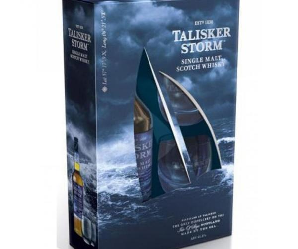 уиски Талискер 700мл малц Сторм  с две ниски чаши пакет p1