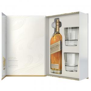 уиски Джони Уокър 700мл Голд Резерва с две ниски чаши пакет  m1