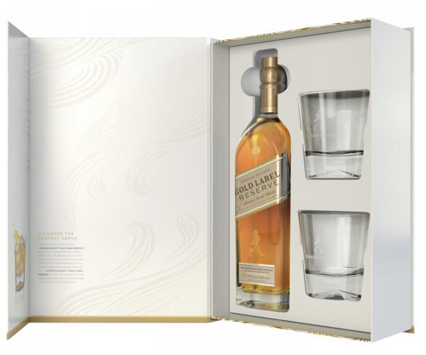 уиски Джони Уокър 700мл Голд Резерва с две ниски чаши пакет  p1