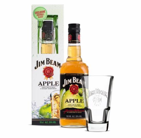 бърбън Джим Бийм 700мл Ябълка с хайбоу чаша