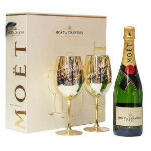 шампанско Моет и Шандон 750мл брут империал с две чаши m1