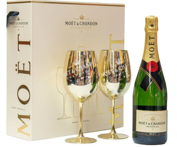 шампанско Моет и Шандон 750мл брут империал с две чаши p1