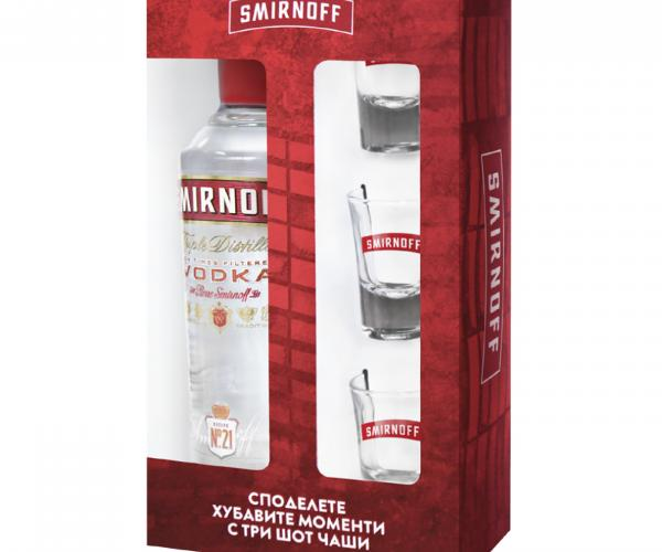 водка Смирноф 700мл Ред №21 с 3 шот чаши p1