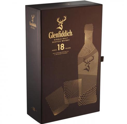 уиски Гленфидиш 700мл Сингъл малц 18г с две чаши