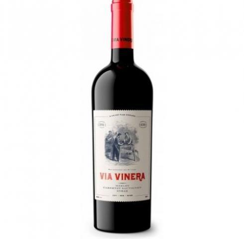 вино Виа Винера 750мл Мерло, Каберне Совиньон и Сира 2017г