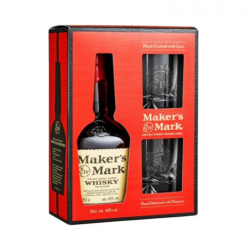 GIFT BOX MAKERS MARK WITH 2 OLD FASHION GLASSES