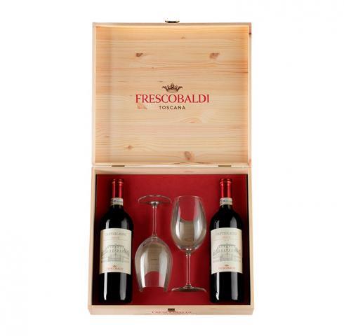 Вино Кастилиони Кианти DOCG Фрескобалди 700мл 2 бутилки + 2 чаши