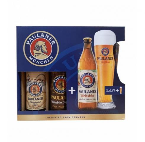 ПОДАРЪЧЕН КОМПЛЕКТ бира Пауланер Мюнхен 3бут. х 500мл + ЧАША