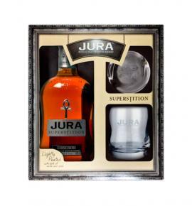 уиски Джура сюперстишън 700мл сингъл малц с две чаши