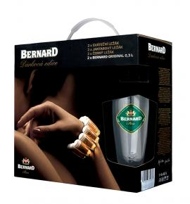Бира Бернард Суинг Пакет 6 бири  (светла, червена, тъмна + 2 чаши) 500мл
