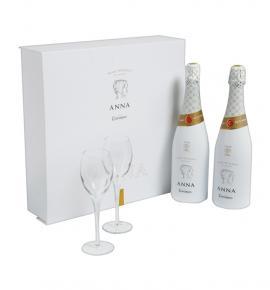 Пенливо Вино Анна де Блан Кава Брут 750мл  2 чаши + 2 бутилки