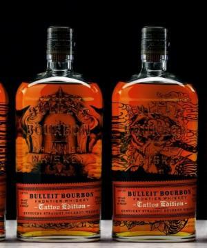 Трайни рисунки върху новите бутилки на уиски Булейт!