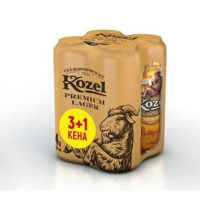 бира Козел 4 x 500мл Премиум Лагер КЕН  3 +1 ПАКЕТ