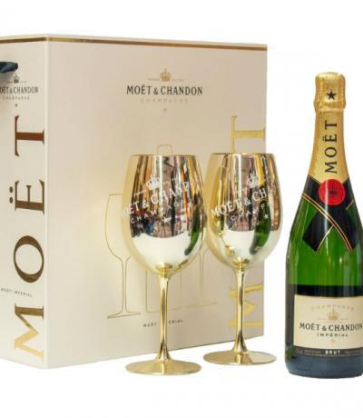 шампанско Моет и Шандон 750мл брут империал с две чаши
