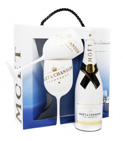 шампанско Моет 750мл Айс Империал Брут с 2 бели чаши за шампанско