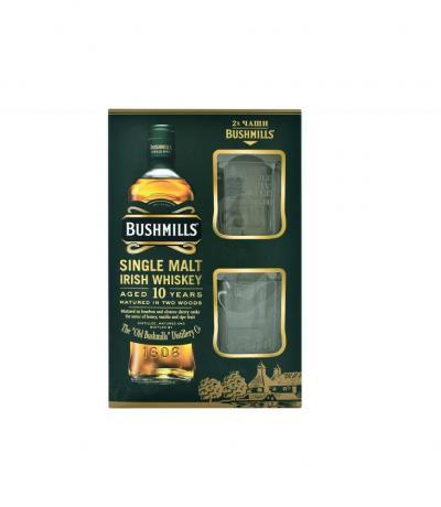 уиски Бушмилс 700мл 10г малц с две чаши