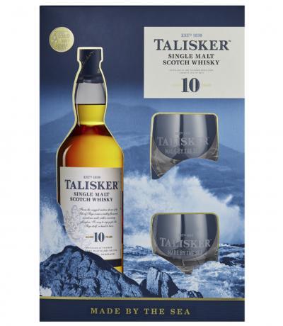уиски Талискер 700мл 10г сингъл малц с 2 ниски чаши