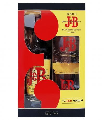 уиски Джей енд Би 700мл с две чаши