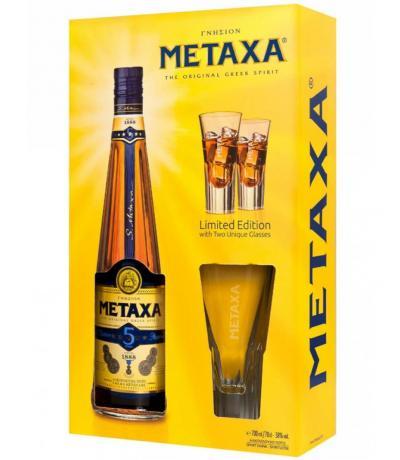 Metaxa 700ml. 5* + 2 glass