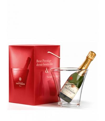 шампанско Тетанже Брут Резерва 375мл. NV мини подаръчен комплект с шампаниера